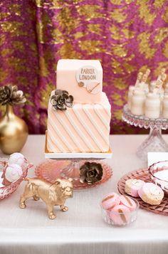 Pink and gold baby shower desserts. Baby Shower Desserts, Baby Shower Cakes, Gold Baby Showers, Shower Inspiration, Baby Shower Gender Reveal, Childrens Party, Girl Shower, Themed Cakes, Pink And Gold