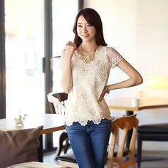 Nova Blusa da moda feminina slim de chiffon tops de renda e manga curta camiseta blusa casual