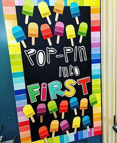 I LOVE this back to school door by @teacherbitsandbobs. She decorated it using paint chips from Home Depot!
