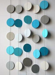 Wedding paper garland - Circle garland - Blue grey turquoise garland - Paper garland - Wedding decor - Bridal shower decorations - Nursery by TransparentEsDecor