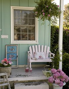 Adorable small porch behind a guesthouse