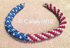 American Flag Bracelet kumihimo