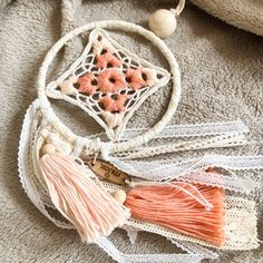 Dreamcatcher with lace and cotton tassel. Not inluding bow for hanging. Handmade by Muak in Switzerland. Each dreamcatcher is a unique piece - I can make a similar one, when sould out. Please contact me at: info Dreamcatchers, Bohemian Style, Switzerland, Tassel Necklace, Tassels, Bows, Unique, Cotton, How To Make