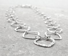 Chain Necklace Long Sterling Silver Diamond by GirlBurkeStudios, $85.00