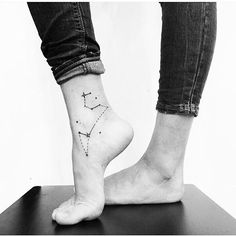 Leo Constellation tattoo on the right ankle, # ankle . - Leo Constellation tattoo on right ankle, - Horoscope Tattoos, Leo Tattoos, Feather Tattoos, Star Tattoos, Sleeve Tattoos, Tatoos, Leo Zodiac Tattoos, Sternkonstellation Tattoo, Tattoo Drawings