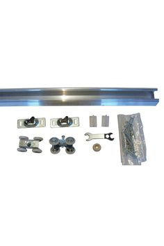 """For 2 x 4 or 2 x6 Interior Wall Construction For 1 3/8"""" or 1 3/4"""" Thick Doors - NOTE: Minimum door thickness of 1"""" 4- Wheel Ball Bearing- 250 lbs Capacity- Adjustable and detachable 4- wheel door hanger Heavy Duty Extruded Aluminum Track- Jump proof precision extruded Box Track"""