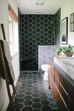 Black Tile Bathrooms, Hexagon Tile Bathroom, Hex Tile, Tile On Bathroom Wall, Tile For Small Bathroom, Bathroom Tile Showers, Small Tile Shower, Tiled Showers, Best Bathroom Flooring