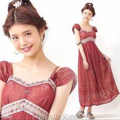 New Japan Secret Honey Disney Limited Edition Jasmine Red Damask Maxi Dress…