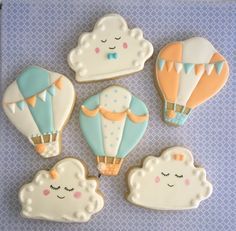 Travel theme baby shower cookies