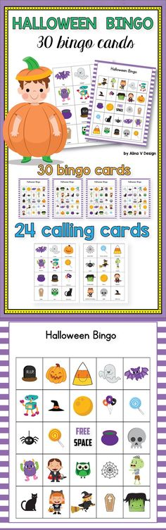 Halloween Bingo Printable for kids and adults for your preschool, kindergarten, and first grade classroom. This fun set includes 30 bingo cards and 24 calling cards perfect as a class set for Halloween parties and games.  # halloween #bingo #printable #forkids #foradults #classroom #preschool #kindergarten #cards #party