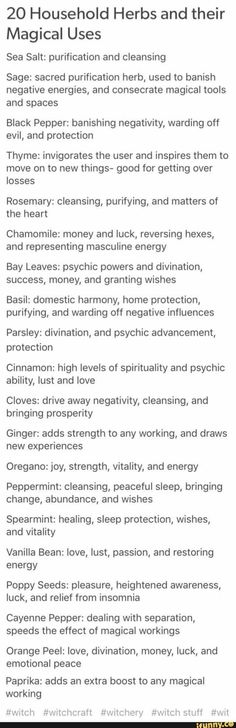 20 household herbs and their magical uses. List of common herbs like rosemary, b. 20 household her Wiccan Spells, Magick, Witchcraft Herbs, Hoodoo Spells, Luck Spells, Wiccan Altar, Tarot, Maleficarum, Under Your Spell