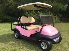 Sweet pink club car precedent golf cart from King of Carts. 803-238-2250