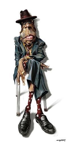 Caricatura de John Lee Hooker.