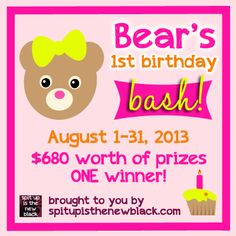Enter to #win $680 worth of prizes (to ONE WINNER!) in Bear's 1st Birthday Bash! 8/31