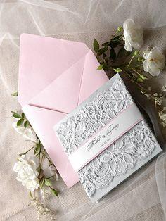 Custom Listing 20 Pink Wedding Invitation Lace by forlovepolkadots