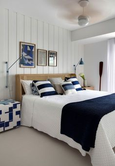 Nautical home decor. Sailor stripes, rope accents, and aquatic hues rule in these modern takes on nautical decor. Home Decor Items, Cheap Home Decor, Unfinished Wood Furniture, Master Bedroom, Bedroom Decor, White Bedroom, Nautical Home, Beach House Decor, Coastal Decor