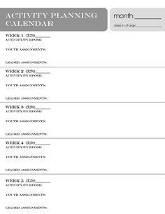 YW Activity Planning Calendar