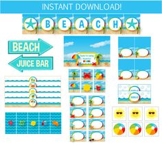 25% Off Pool Party Pack  Beach Party Printables  by SugarShebang