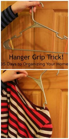 Do you know about this cheap DIY Hanger Grip Trick?! #organize #organizing