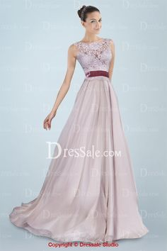Ethereal Bateau Neckline A-line Evening Dress with Lace Cover. This reminds me of Japanese Blossoms ;)
