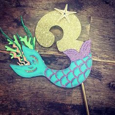 Under the Sea Birthday Cake Topper. One Birthday, Under the Sea Cake Topper Mermaid tail number cake topper. Under the Sea Birthday Cake 2 Birthday, Mermaid Theme Birthday, Birthday Design, Birthday Parties, Mermaid Tail Cake, Mermaid Cakes, Little Mermaid Cake Topper, Mermaid Pinata, Mermaid Party Food