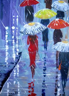 Original Painting Umbrellas-2 - Acrylic Rain Painting - Blue Red Orange - Abstract Landscape - Large Size - Made To Order See the painting in details. Every inch is paid enough attention. The technique is impasto and the painting is suitable for every office, house and room. We use top European paints, which ensures long life for your oil painting. We employ traditional Acrylic on canvas painting process, no under-printing, no computer-aided of any kind. All paintings are uniquely created…