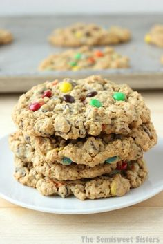 Our FAVORITE recipe for Monster Cookies- Soft Chewy & Flourless - Gluten Free! - I love to add mini M&M's to mine! Ingredients: 3 eggs, 1½ cups brown sugar, 1 cup sugar, 2 teaspoons vanilla, 2 teaspoons baking soda. ½ cup butter, 1½ cups peanut butter, 4¼ cups oats, 1 cup semisweet chocolate chips, 1 cup M&M's (mini or regular)