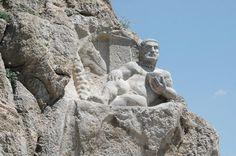 Unesco site- Statue of Heracles in Behistun Persian Ruins, Iran (450 bC aprox)