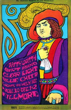 Concert poster: Nitty Gritty Dirt Band, Clear Light  Blue Cheer at The FIllmore, 1967.