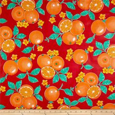 Oil Cloth Oranges Red from @fabricdotcom  Oilcloth is vinyl on a cotton mesh base. It's great fabric for protecting surfaces, creating fun settings and crafts. This bonded vinyl is durable and very versatile. Create placemats, tablecloths, baby bibs, floor coverings under high chairs for easy clean up and shelf lining. Don't forget oilcloth for your picnics! No need to hem just cut your shape, that's all! Ideal for young sewers, very easy to handle, they can create easy projects such as book…