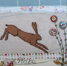Cajame Creations: Hares and Graces by Jo Hill Freehand Machine Embroidery, Free Motion Embroidery, Hand Applique, Embroidery Applique, Applique Cushions, Textiles, Fabric Pictures, Art Textile, Sewing Appliques