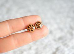 Wooden studs earrings burned wood earrings stud by MyPieceOfWood