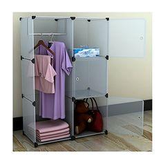 Portable Modular Storage Clothes Closet Organizer System W/ 3 Enclosed  Cubes IDS Http:/