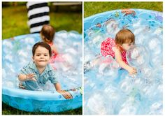 Balloons fill a kiddie pool in this awesome bubble themed party activity at HWTM