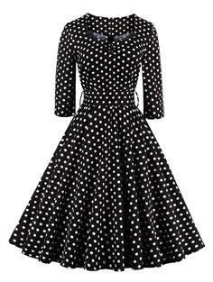 Retro Sweetheart Neck Polka Dot Printed Flare Dress