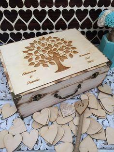 Large Rustic wedding guest book alternative / guest book / memory box / wood burned box / keepsake box/ wedding tree / birds
