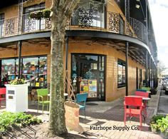 Independent Bookstore Page and Palette with adjacent coffee shop, Latte Da. Located at the corner of De La Mar and Section Streets in beautiful downtown Fairhope, Alabama. - Fairhope Supply Co.