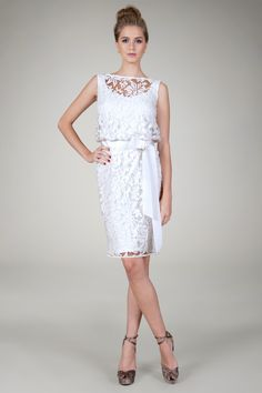 Embroidered Lace Cocktail Dress in Ivory - Evening Shop | Tadashi Shoji