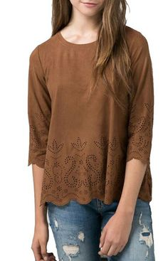 Sweet Loose Faux Suede Top