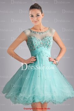Lovely Illusion Neckline Light Blue Sweet 16 Dress with Crystals and Keyhole Back
