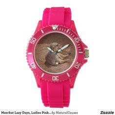 Meerkat Lazy Days, Ladies Pink Sports Watch. Wristwatch