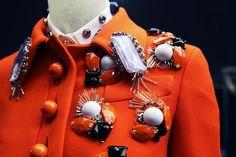 Miu Miu coat and collar detail Embroidery Fashion, Beaded Embroidery, Miu Miu, Betsey Johnson, Moschino, Gamine Style, Fashion Details, Fashion Design, India Fashion