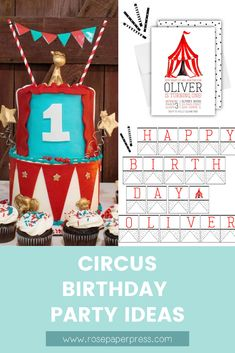 The best ideas for hosting a Circus and Carnival Birthday Party for kids. Birthday party ideas including invitations, cake, and decorations. Circus 1st Birthdays, Kids Birthday Themes, Carnival Birthday Parties, Circus Birthday Invitations, Banners, Party Ideas, Decorations, Cake, Pie