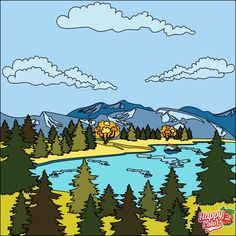 On the Lake Adult Coloring, Coloring Books, Coloring Pages, Colouring, Color By Numbers, Paint By Number, Happy Colors, Bart Simpson, Painting & Drawing