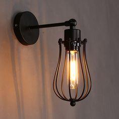 Retro Vintage apliques Industrial jaula de hierro lámparas de pared Warehourse luminaria apliques de pared lámparas de iluminación exterior