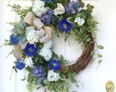 Spring Wreath-Easter Door Wreath-Wedding by ReginasGarden on Etsy
