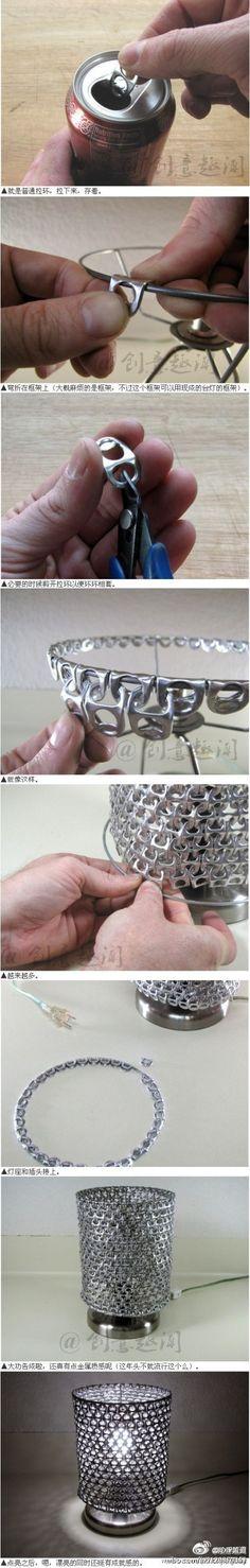 reciclaje lamparas con aros de latas de refresco