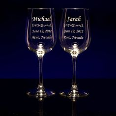 give the newlyweds a timeless wedding gift: custom engraved wine glasses from GlassWithATwist.com