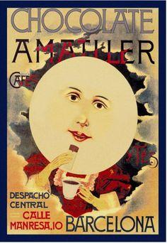 Chocolate Amatller: Barcelona vintage chocolate advert  full moon face
