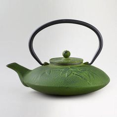 Green Cast Iron Teapot.